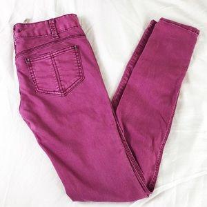 Free People Purple Pink Skinny Jeans Size 26